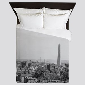 Vintage Photograph of Charlestown Mass Queen Duvet